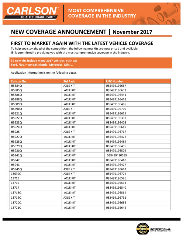 New Coverage November 2017